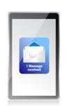 E-Mail von der Tablette Stockfoto
