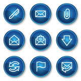 E-mail web icons, blue circle buttons Stock Photography