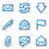 E-mail web icons, blue contour sticker series Royalty Free Stock Images
