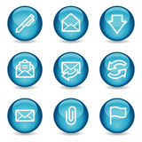 E-mail web icons, blue glossy sphere series Stock Images