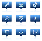 E-mail web icons, blue speech bubbles series Stock Images