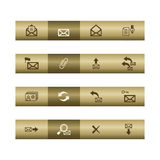 E-mail web icons on bronze bar. Web icons on bronze bar. Vector file has layers, all icons in two versions are included Stock Image