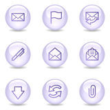 E-mail web icons, glossy pearl series Stock Images