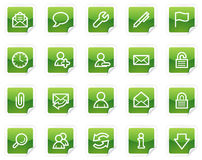 E-mail web icons, green sticker series Stock Photo