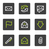E-mail web icons, grey square buttons series Royalty Free Stock Photo