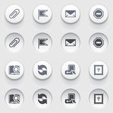 E-mail web icons on white buttons. Set 2. Stock Photos