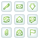 E-mail web icons, white square buttons series Stock Images