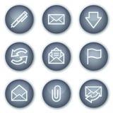 E-mail Webpictogrammen, de minerale reeks van cirkelknopen Royalty-vrije Stock Foto