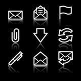 E-mail white contour web icons. Vector web icons, white contour series Stock Photo