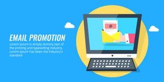 E-mailbevordering, campagne, e-mail marketing concept Vlak ontwerp die vectorbanner op de markt brengen Stock Afbeeldingen