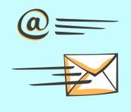 E-mailenveloppictogram in een motie De stijl van het beeldverhaalpop-art Royalty-vrije Stock Afbeeldingen
