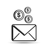 E-mailgeld die bestemmingspictogram verzenden Stock Afbeelding