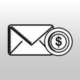 E-mailgeld die bestemmingspictogram verzenden Royalty-vrije Stock Foto's