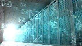 E-mailgrafiek in serverruimte vector illustratie
