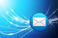 E-mailknoop op Blauwe Abstracte Lichte Achtergrond Royalty-vrije Stock Afbeelding