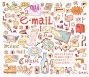 E-mailkrabbelreeks hand-drawn vectorillustratie Stock Fotografie