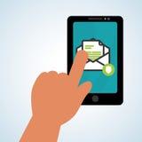 E-mailontwerp Het pictogram van de envelop Geïsoleerde illustratie, vector Stock Foto's