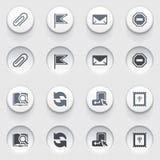 E-mailowe sieci ikony na białych guzikach. Set 2. Zdjęcia Stock