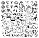 E-mailowy doodle set pociągany ręcznie wektorowa ilustracja Zdjęcia Stock