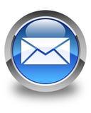 E-mailpictogram glanzende blauwe ronde knoop Stock Afbeeldingen