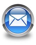 E-mailpictogram glanzende blauwe ronde knoop Stock Afbeelding
