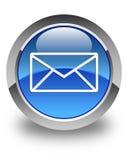 E-mailpictogram glanzende blauwe ronde knoop Stock Foto's