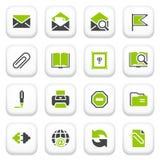 E-mailpictogrammen. Groene grijze reeks. Royalty-vrije Stock Foto