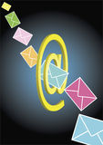 E-Mails flying. Through space and through the E-mail-Icon. This file is also available as EPS-file Royalty Free Stock Photography