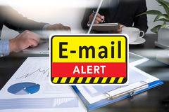 E-mails Hacked Warning Digital Browsing and virus Stock Photography