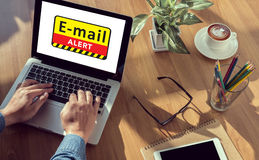 E-mails Hacked Warning Digital Browsing and virus Stock Photo