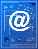 E-mailsymbool zoals blauwdruktekening Stock Foto
