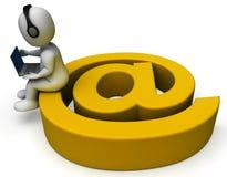 E-mailteken en Laptop die E-mailcorrespondentie tonen vector illustratie