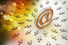 E-mailteken met muiswijzer Stock Foto's