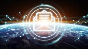 E-mailuitwisselingen bij aarde het 3D teruggeven Stock Foto