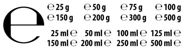 E-marca estimada de la muestra de e con dimensiones correctas según la UE calamitosa Imagen de archivo libre de regalías