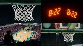 E marcador de los deportes con números de tiempo, el aro de baloncesto y el campo almacen de metraje de vídeo