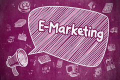 E-Marketing - Hand Drawn Illustration on Purple Chalkboard. Royalty Free Stock Photos