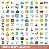 100 e-marketing icons set, flat style. 100 e-marketing icons set in flat style for any design vector illustration stock illustration