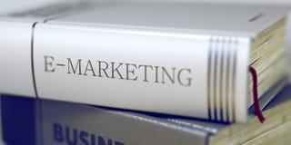 E-Marketing Konzept Buch-Titel 3d Lizenzfreie Stockbilder