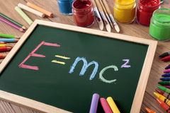 E=mc2, Einstein physics formula on blackboard Stock Photography