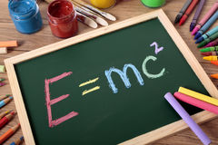 E=mc2 formula written in chalk on small blackboard Royalty Free Stock Photography