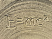 E mc2 write on the sand Stock Photos