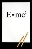 E=mc2. White sheet of paper with formula Royalty Free Illustration