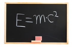 E mc2. Formula from albert einstein on a chalkboard Stock Images