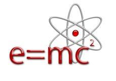 E=mc2 Vergelijking en atoom Stock Afbeeldingen