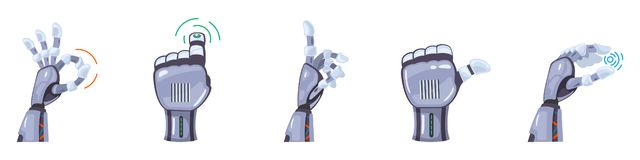 E Mechaniczne ręki Machinalnej technologii inżynierii symbolu ręki maszynowi gesty ustawiają Futurystycznego projekt ilustracja wektor