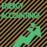 E Medida do texto da foto do negócio e para relatar o consumo de energia de ilustração royalty free