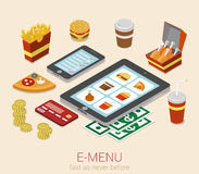 E-menu mobile device online menu order flat 3d isometric concept Royalty Free Stock Photo