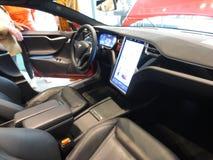 Tesla Model S. Electric car. E-mobile. Electric car. Tesla Model S. High tech. Vehicle interior Tesla Model S stock photos