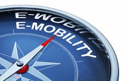 E-mobility. 3D rendering of an compass with the word e-mobility stock photo